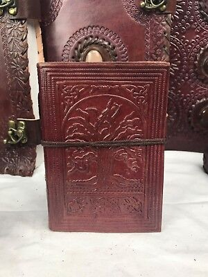 Hand Made Leather Bound Book/Journal Recycled Paper Tree of Life 12.5 x 9 cm