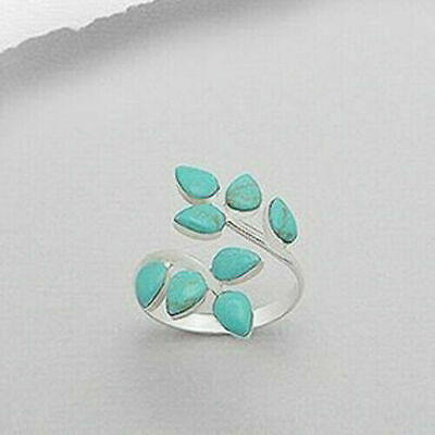 Vintage Woman 925 Silver Leaf Turquoise Gemstone Ring Wedding Adjustable Jewelry