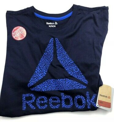 Reebok Mens Crew Neck T-Shirt Med Navy Logo Graphic Short Sleeves Cottn Poly NEW