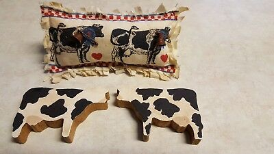 Primitive Cows, mini pillow, wood chunkies bowl filler/ornies/accents 3 pc set