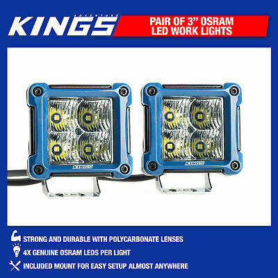 "Kings 3"" LED Work Light Pair Offroad Adventure SUV 4WD Truck Beam"