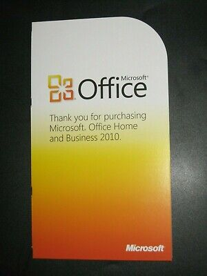 Microsoft Office Home and Business 2010 - Product Key Card