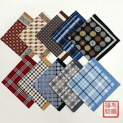 100% Cotton Plaids Checks Handkerchiefs Pocket Square Hanky Men Women 45*45CM