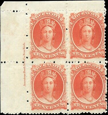 Mint Canada Nova Scotia 1860-1863 Block 10c Scott #12 Queen  Stamps Hinged