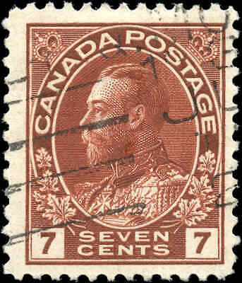 Canada Used Scott #114 1911-1925 7c King George V Admiral Stamp
