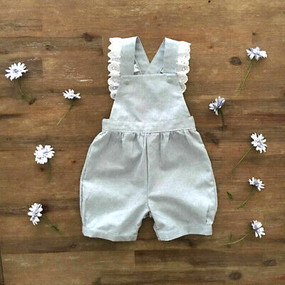 US 2019 Summer Cute Infant Kid Baby Girls Princess Romper Lace Sling Outfits New