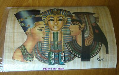 Genuine Egyptian  PAPYRUS -King Tutankhamun-Nefertiti-Cleopatra -   #409