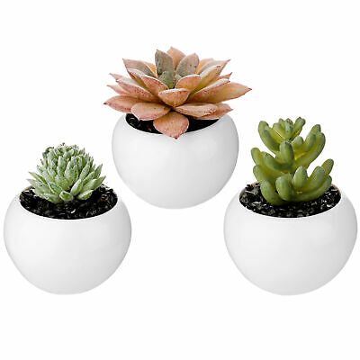 MyGift Set of 3 Mini Artificial Succulent Plants in White Ceramic Pots