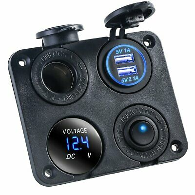 4 in 1 12V/24V Car Cigarette Lighter Socket Dual USB Charger Voltmeter Switch
