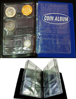 Lot 2pcs Pocket Coin Album for Large Dollars Crown Size Silver Coins -96 Holders