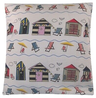 Handmade Cushion Cover - Same Fabric Front / Back - Beach Huts / Deck Chairs