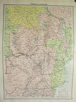 1920 Large Map ~ Africa Rhodesia & Nyasaland Bechuanaland Boundaries Colonies