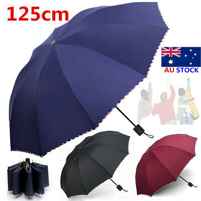 125cm Men Women Large Folding Rain Umbrella Waterproof Big Oversize Parasol Gift