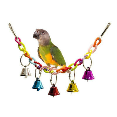 1*Parrot Bird Hanging Swing Bed Cage Rope Pet Chew Bite Bell Parakeets Budgie