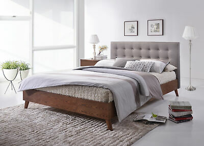 Gino Walnut Wood Bed Frame With Grey Fabric Buttoned Headboard - 4ft6 & 5ft