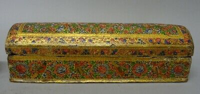 Very nice antique 19th century  Kashmir polychrome painted pen box.