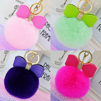 Bowknot Fur Pom Keychains Real Rex Rabbit Fur Ball Key Chains Bag Pendant