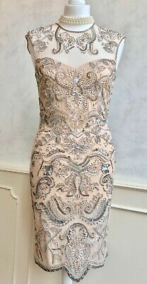 MISS SELFRIDGE 1920s Flapper Art Deco Nude Sequin Bead Gatsby Downton Dress S 10