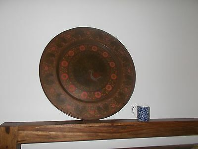 Late C19Th Indo Persian Brass Tray Charger Islamic Peacocks Picture Art Bronze