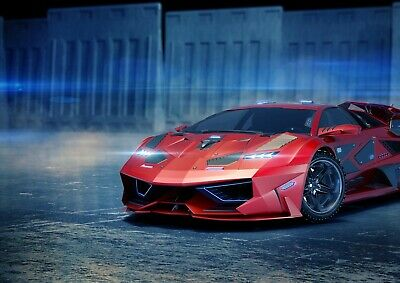 Cool Red Concept Sports Car Poster Size A4 / A3 Luxury Vehicle Poster Gift #8792