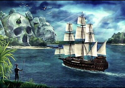 Cool Pirate Ship Poster Print Size A4 / A3 Caribbean Sea Boat Poster Gift #8965