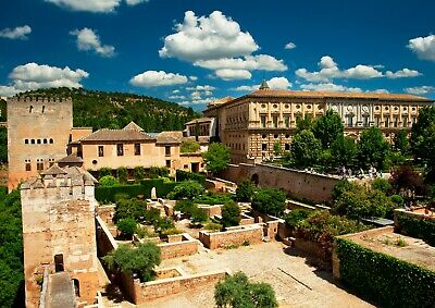 Awesome Alhambra Palace Poster Size A4 / A3 Spain Landscape Poster Gift #8933