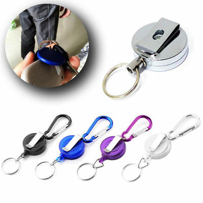 Stainless Silver Pull Ring Retractable Key Chain Recoil Keyring Heavy Steel #na