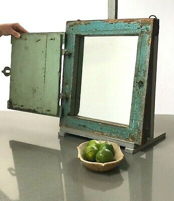 Antique Vintage Indian Reclaimed Shuttered Window Mirror. Eau-De-Nil. Turquoise.