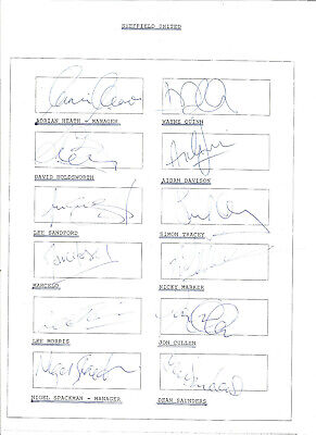 Football Autographs Sheffield Wednesday Signed Team Sheets F1114