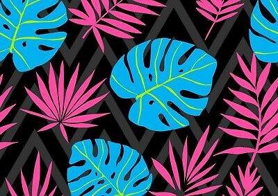 Cool Tropical Leaves Poster Size A4 / A3 Hawaii Leaf Forest Poster Gift #8685