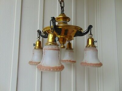 Vintage PERKINS 4 Brass Arm Pan Chandelier Hanging Ceiling Light Lamp Fixture