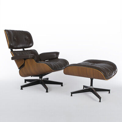 Brown & Walnut Herman Miller Original Eames Lounge Chair and Ottoman