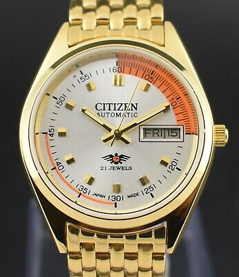 6a5abf164 Vintage Citizen Automatic 21 Jewel Gold Plated Case Day Date Men's Wrist  Watch