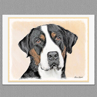 6 Greater Swiss Mountain Dog Blank Art Note Greeting Cards