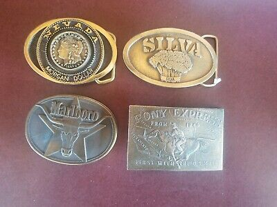 Vtg Belt Buckles Lot Of 4 Silva,Marlboro, Nevada Morgan & Pony Express Brass