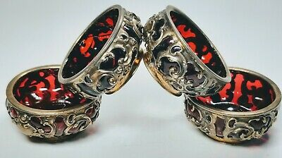 4 Gorham and Whiting Ruby Glass and Heavy Sterling Silver Overlay Master Salts