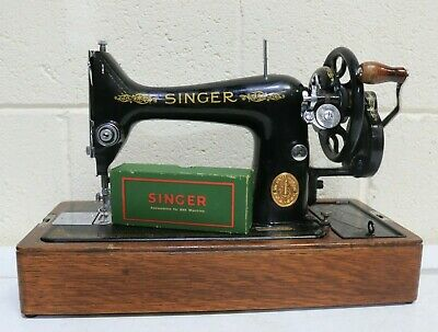Vintage SINGER 99K Black and Gold Manual Sewing Machine w/ Accs and Case - 203