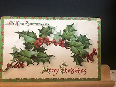 Antique 1911 Embossed Christmas Tuck's Postcard Postmarked Ontario Canada
