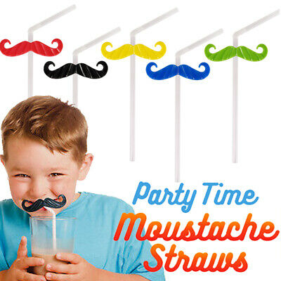 20 x Moustache Novelty Drinking Straws Bendy Kids Birthday Party Cocktail Adult