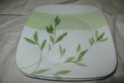 """3 Corelle Rivage Green Leaf 10 1/2"""" Square Dinner Plates"""