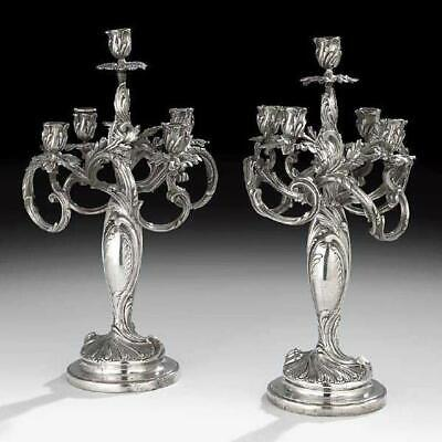 Pair Antique Silvered ( Silverplated ) Bronze Louis XV XVI Rococo Style Candelab