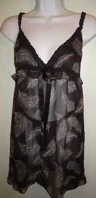 Cynthia Rowley 2 pc chemise thongs panties nightgown Set Sexy Plume Feathers Blk