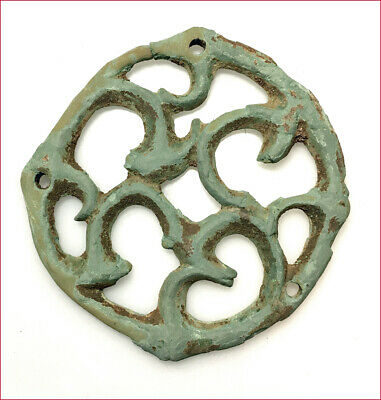 Large Roman bronze appliqué. 3.4 inches diameter. 7678