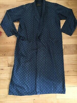 Vintage St Michael M & S Blue Paisley Cotton Dressing Gown Robe Small Chest 36