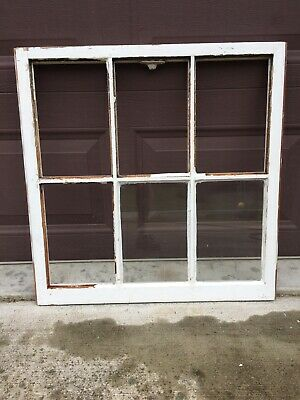 "Antique Vintage Wood Window Rustic Farmhouse Wedding Decor Art 27""x27"", 6 Pane"