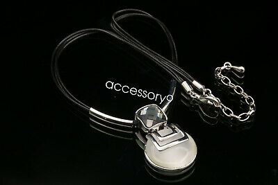 Gray square crystal white cateye bead pendant silver plated necklace jewelry S71