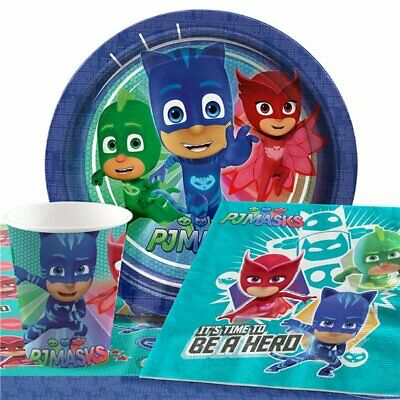 PJ Masks Party Pack for 8 Guests - Plates, Napkins, Cups & Tablecover