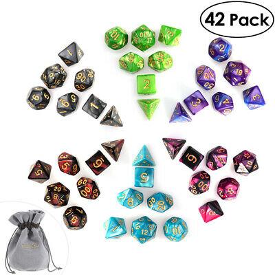 42pcs Polyhedral Dice DND RPG Game Poker Card Dungeons Dragons Party VIC
