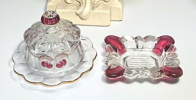 Darling Antique/Vintage Cranberry & Clear Art Glass Child's Covered Dish & Tray