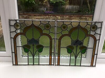Antique Stained Glass Windows Victorian X 2 Old Floral Leaded Panels Reclaimed